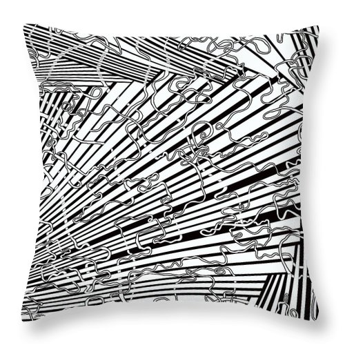 Meditation Labyrinth Throw Pillow featuring the painting One 17 by Douglas Christian Larsen