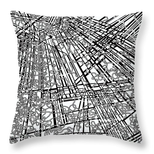 Meditation Labyrinth Throw Pillow featuring the painting One 18 by Douglas Christian Larsen