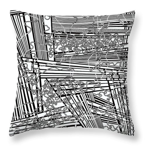 Meditation Labyrinth Throw Pillow featuring the painting One 19 by Douglas Christian Larsen