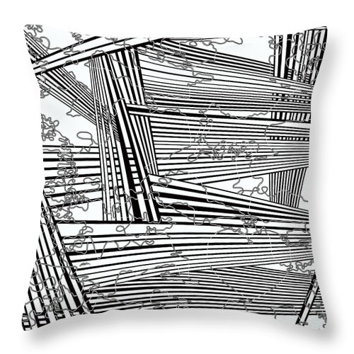 Black And White Throw Pillow featuring the painting One 22 by Douglas Christian Larsen