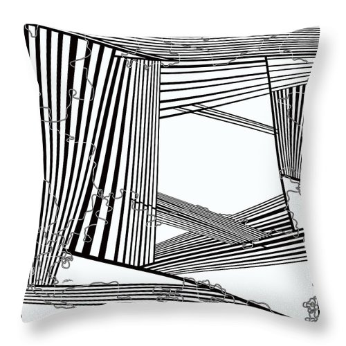 Black And White Throw Pillow featuring the painting One 23 by Douglas Christian Larsen