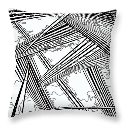 Black And White Throw Pillow featuring the painting One 24 by Douglas Christian Larsen