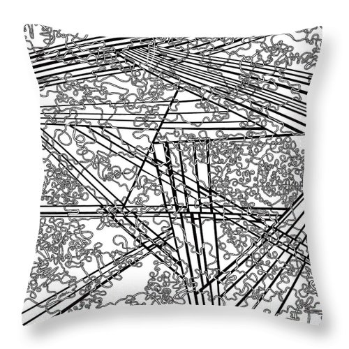 Black And White Throw Pillow featuring the painting One 5 by Douglas Christian Larsen