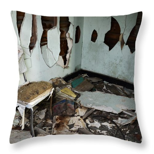 Mess Throw Pillow featuring the photograph One Mans Mess by Bob Christopher