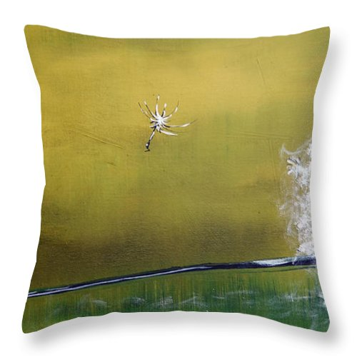 Dandelion Throw Pillow featuring the painting One Wish by Nancy Hilliard Joyce