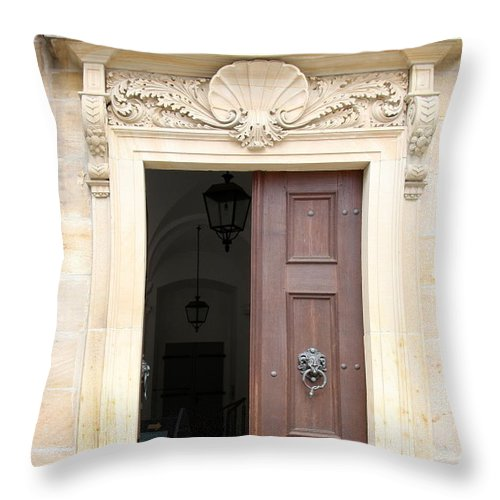 Church Throw Pillow featuring the photograph Open Church Door - Germany by Christiane Schulze Art And Photography