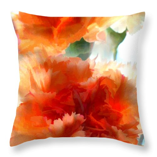 Flower Flowers Garden Carnation Carnations Flora Floral Nature Orange Natural Throw Pillow featuring the painting Orange Carnations by Elaine Plesser