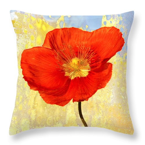 Flower Throw Pillow featuring the photograph Orange Iceland Poppy On Yellow And Blue by Carol Leigh
