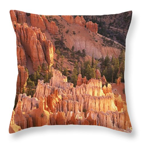 United States Throw Pillow featuring the photograph Orange Rock Formations And Trees At by Axiom Photographic