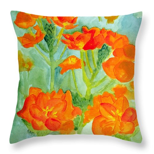 Orange Throw Pillow featuring the painting Orange Star Flowers by Sandy McIntire