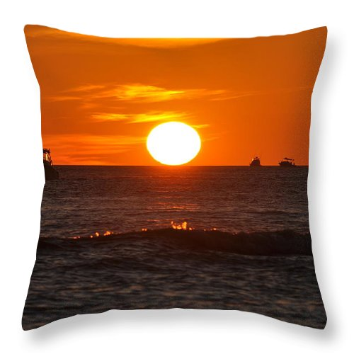 Sunset Throw Pillow featuring the photograph Orange Sunset I by Christine Stonebridge