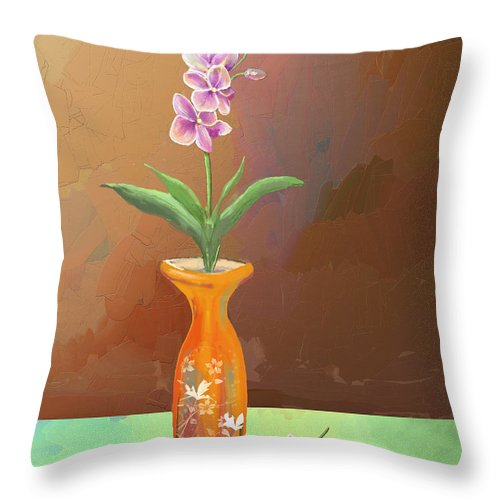 Orchid Throw Pillow featuring the digital art Orchids by Arline Wagner