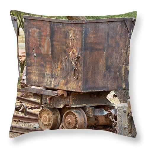 Ore Car Train Throw Pillow featuring the photograph Ore Car Trian by Phyllis Denton