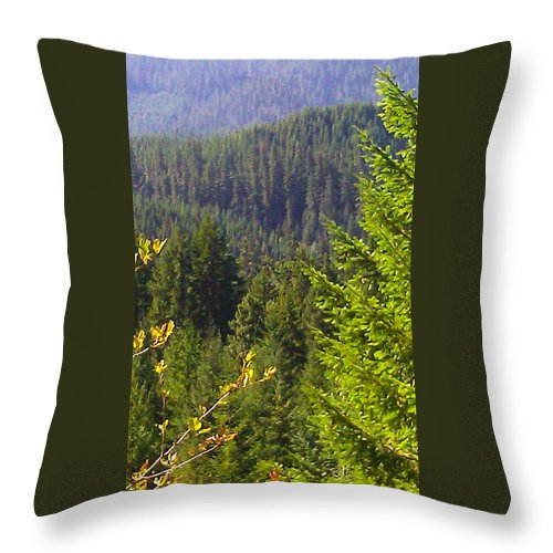 View Throw Pillow featuring the photograph Oregon Trees by Linda Hutchins