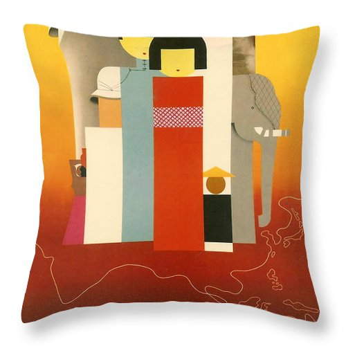 Orient Throw Pillow featuring the digital art Orient Calls by Georgia Fowler
