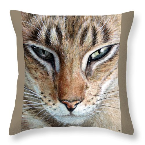 Cat Throw Pillow featuring the painting Oriental Cat by Svetlana Ledneva-Schukina