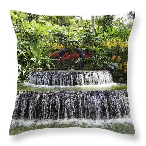 Asia Throw Pillow featuring the photograph Ornamental Attraction Opposite The Entrance Of The National Orch by Ashish Agarwal
