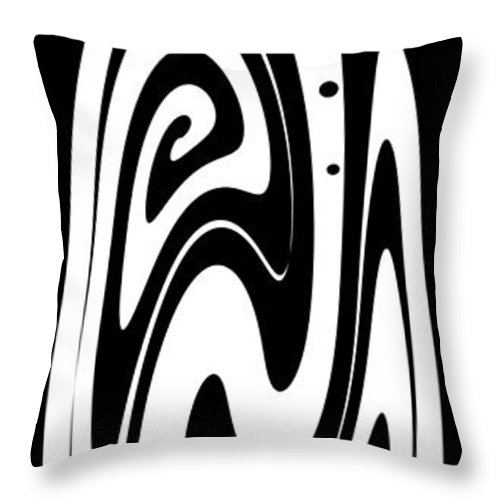 Ornamental Vase Throw Pillow featuring the digital art Ornamental Vase - White On Black by Kaye Menner