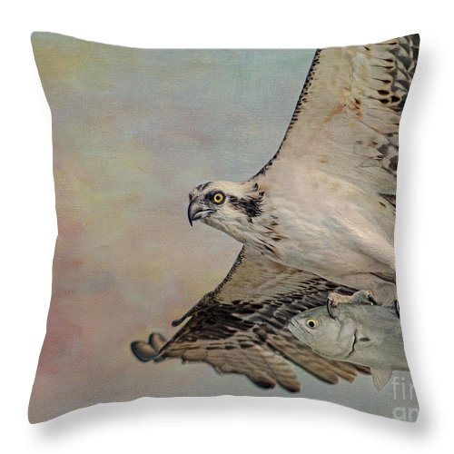 Osprey Throw Pillow featuring the photograph Osprey And Fish by Deborah Benoit
