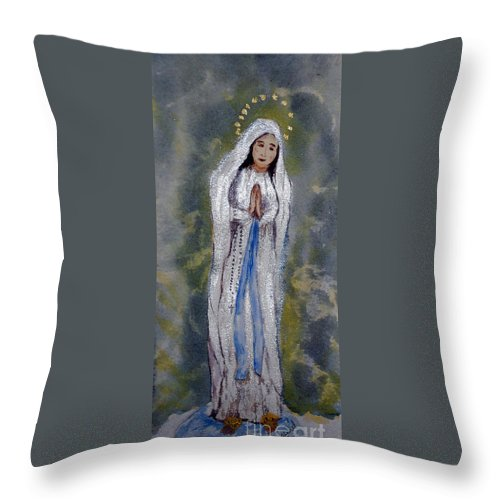 Our Lady Of Lourdes Throw Pillow featuring the painting Our Lady Of Lourdes 2 by Vicki Housel