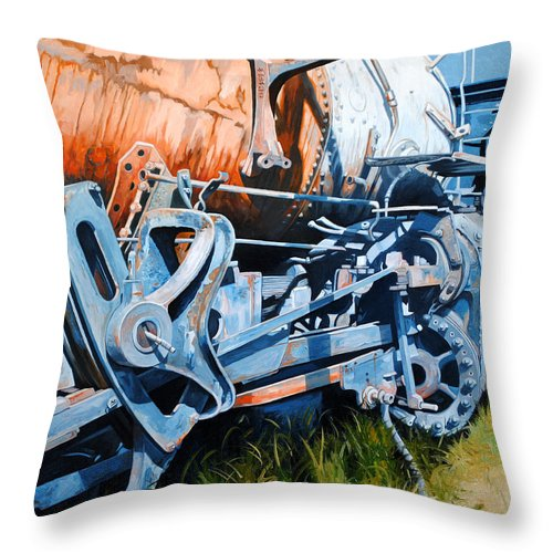 Train Throw Pillow featuring the painting Out Of Gear by Chris Steinken