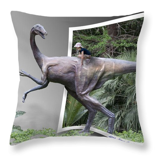 Dinosaur Throw Pillow featuring the photograph Out Of The Dark by Betty Depee