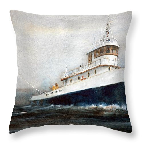 Ships Throw Pillow featuring the painting Out of the Fog by Charles Rowland