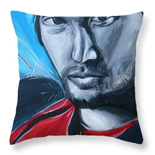 Alex Ovechkin Throw Pillow featuring the painting Ovechkin by Kate Fortin