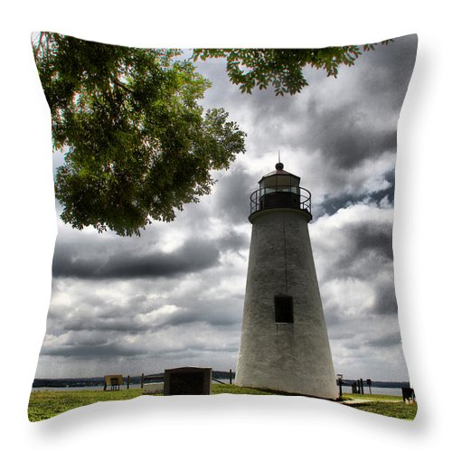 Turkey Point Lighthouse Clouds Clouds Delaware Scenic Water Throw Pillow featuring the photograph Overcast Clouds At Turkey Point Lighthouse by Alice Gipson