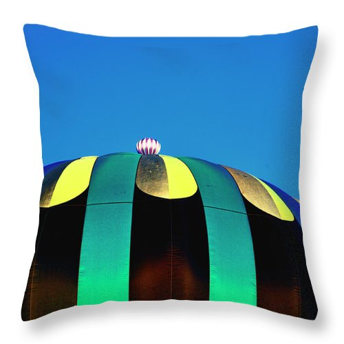 Hot Air Balloon Throw Pillow featuring the digital art Overdone Blue by Gary Baird