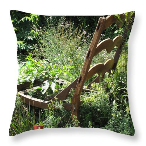 Chair Throw Pillow featuring the photograph Overgrown Chair by Michele Nelson