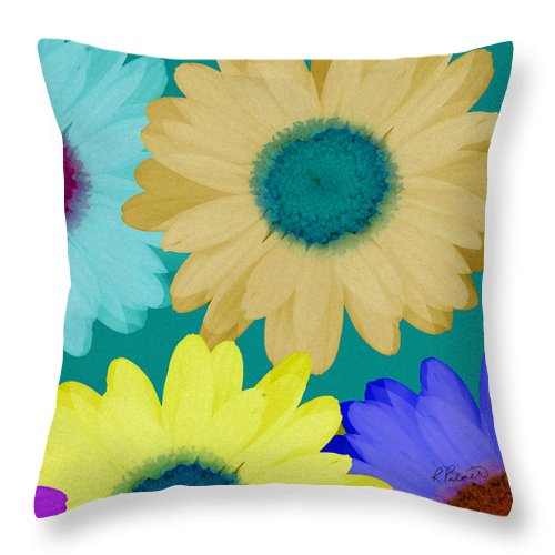 Daisy Throw Pillow featuring the mixed media Oversize Daisies by Ruth Palmer