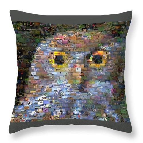 Owl Throw Pillow featuring the digital art Owl Mosaic by Paul Van Scott