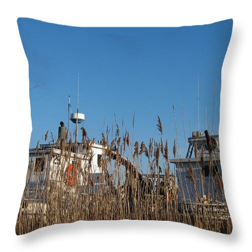 Oyster Boats Throw Pillow featuring the photograph Oyster Boats In Dry Dock by Nancy Patterson