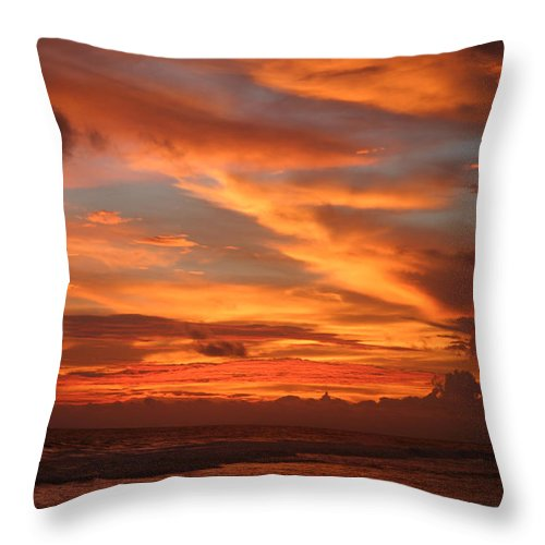 Sunset Throw Pillow featuring the photograph Pacific Sunset Costa Rica by Michelle Constantine