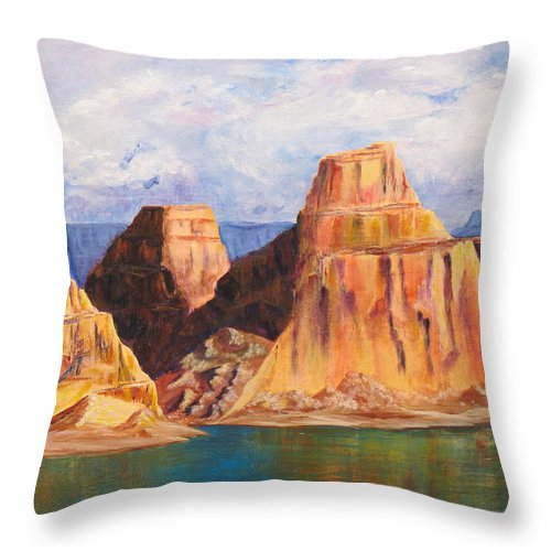 Landscape Throw Pillow featuring the painting Padre Bay Lake Powell by Jennifer Hillman