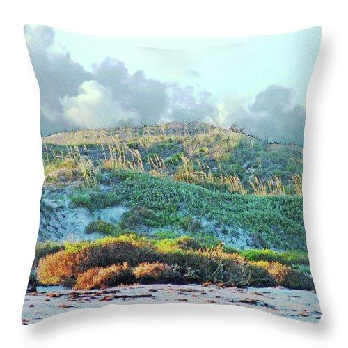 Beach Throw Pillow featuring the digital art Padres Island National Park Beach by Lizi Beard-Ward
