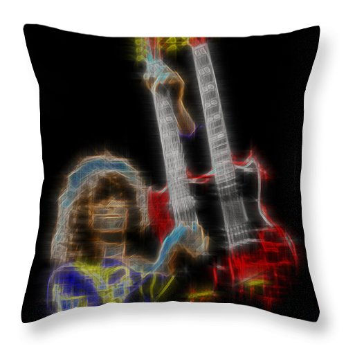 Led Zeppelin Throw Pillow featuring the digital art Zoso by Kenneth Armand Johnson