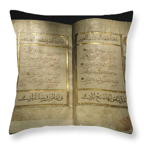 Africa Throw Pillow featuring the photograph Pages Of A 13th Century Koran by Kenneth Garrett