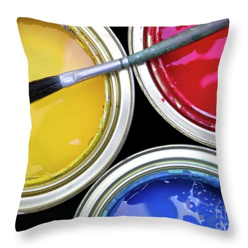 Art Throw Pillow featuring the photograph Paint Cans by Carlos Caetano