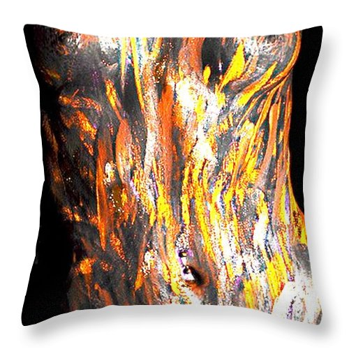 Nude In Paint Throw Pillow featuring the painting Paint Smears by Thomas Oliver