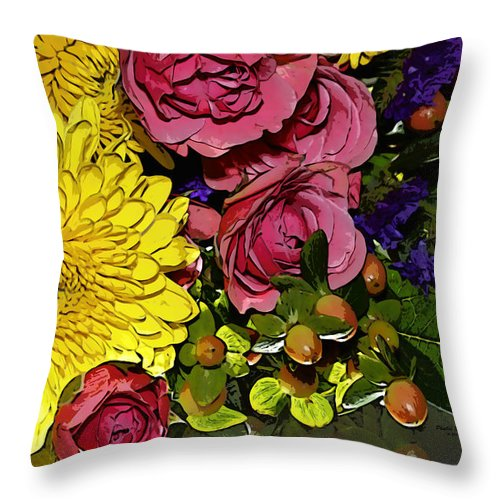 Flowers Throw Pillow featuring the photograph Painted Bouquet by Phyllis Denton