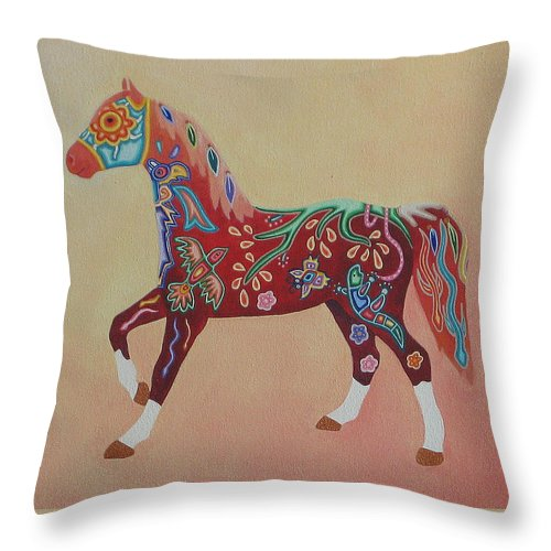 Mexico Throw Pillow featuring the painting Painted Horse A by Sonia Stiplosek