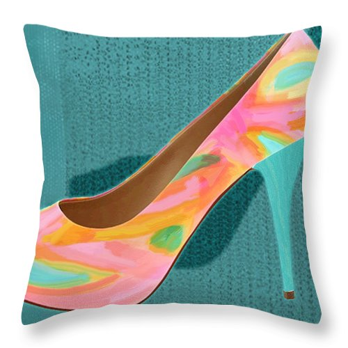 Shoes Heels Pumps Fashion Designer Feet Foot Shoe Throw Pillow featuring the painting Painted Leather Platform Pumps by Elaine Plesser