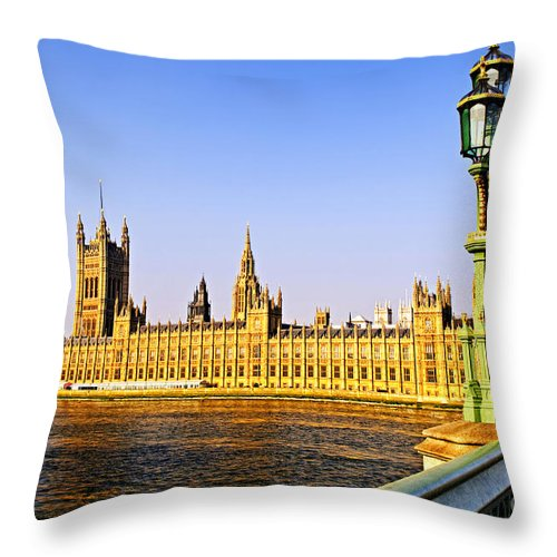 Palace Throw Pillow featuring the photograph Palace Of Westminster From Bridge by Elena Elisseeva