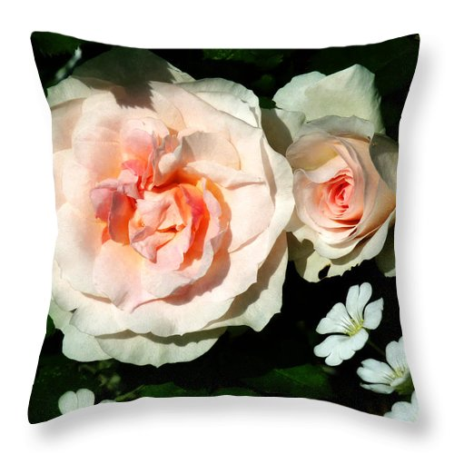 Rose Throw Pillow featuring the photograph Pale Pink Roses In Garden by Susan Savad
