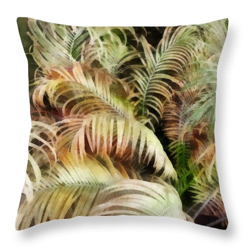 Palm; Tree; Bush; Tropic; Tropical; Plant; Frond; Leaf; Leaves Throw Pillow featuring the digital art Palm Bank by Francesa Miller