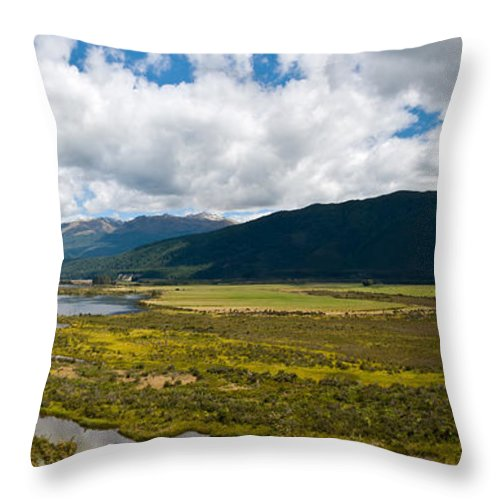 Abstract Throw Pillow featuring the photograph Panorama Of Waiau River Wetland South New Zealand by U Schade