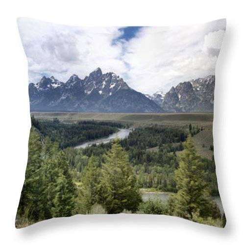 Panorama Snake River Grand Teton Mountains Throw Pillow featuring the photograph Panorama Snake River Grand Teton by Paul Cannon