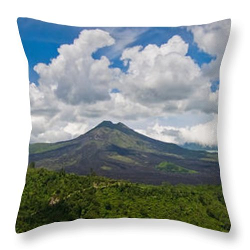 Ash Throw Pillow featuring the photograph Panoramic View Of A Volcano Mountain by U Schade